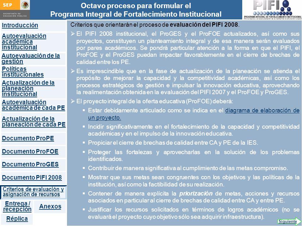Criterios que orientarán el proceso de evaluación del PIFI 2008.