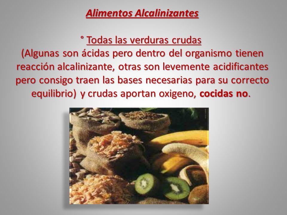 Alimentos Alcalinizantes ° Todas las verduras crudas