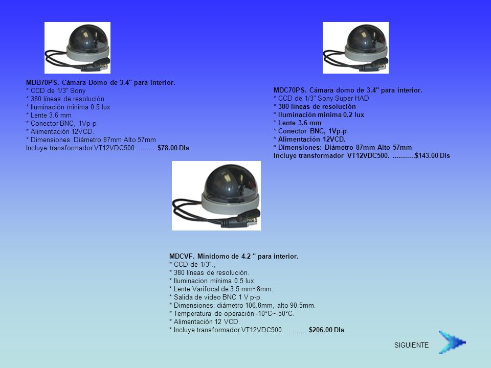 MDB70PS. Cámara Domo de 3. 4 para interior. CCD de 1/3 Sony