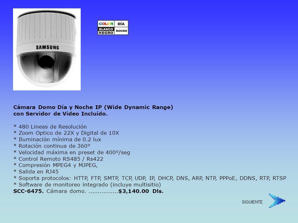 Cámara Domo Día y Noche IP (Wide Dynamic Range) con Servidor de Video Incluído.