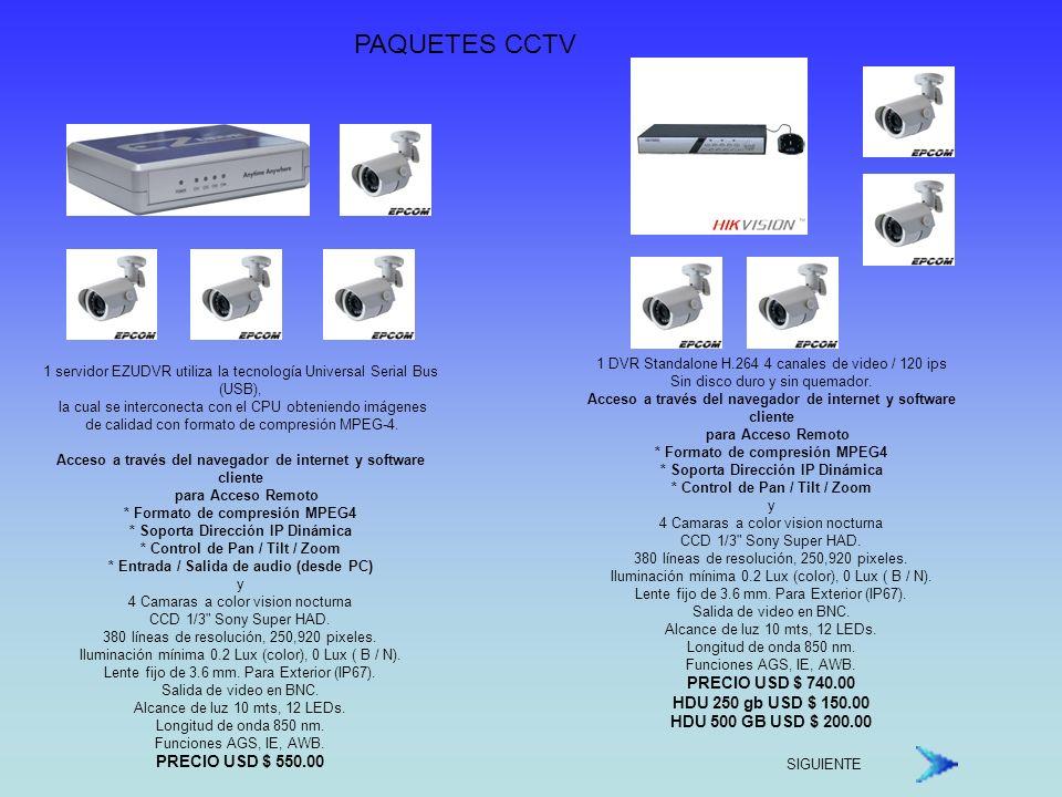 PAQUETES CCTV PRECIO USD $ 740.00 HDU 250 gb USD $ 150.00