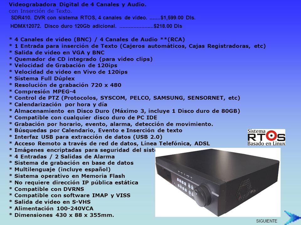 Videograbadora Digital de 4 Canales y Audio. con Inserción de Texto.