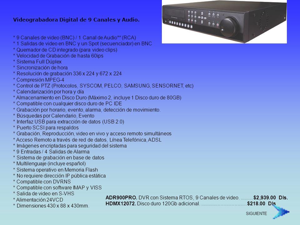 Videograbadora Digital de 9 Canales y Audio.