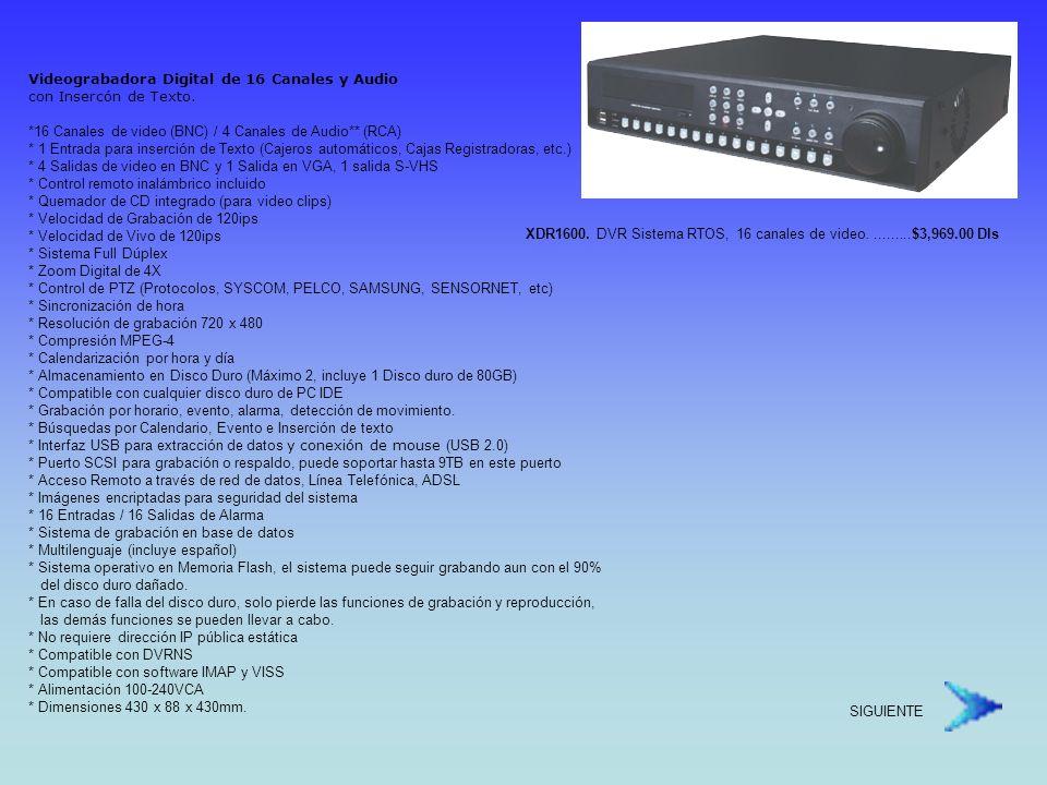 Videograbadora Digital de 16 Canales y Audio con Insercón de Texto.