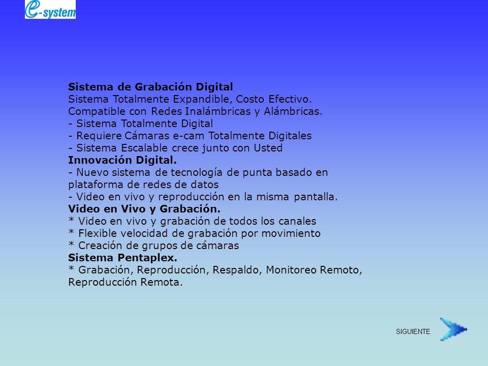 Sistema de Grabación Digital Sistema Totalmente Expandible, Costo Efectivo. Compatible con Redes Inalámbricas y Alámbricas.