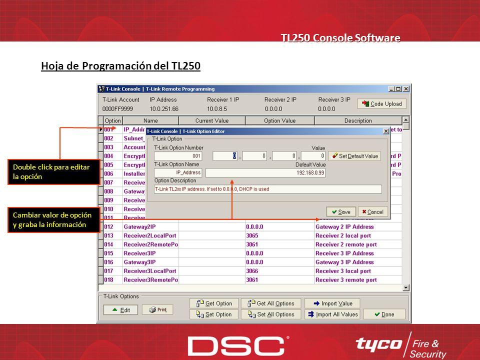 Hoja de Programación del TL250