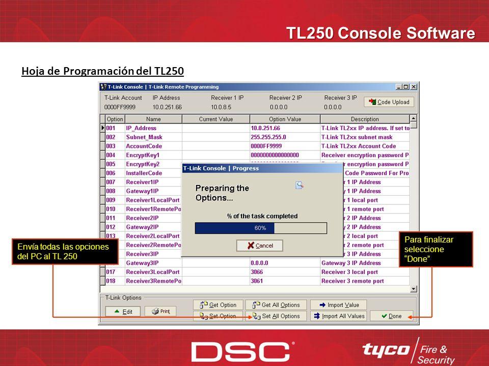 TL250 Console Software Hoja de Programación del TL250