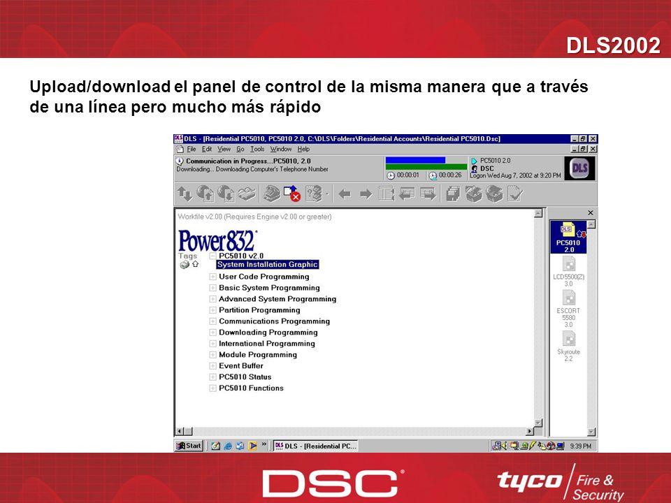 DLS2002 Upload/download el panel de control de la misma manera que a través de una línea pero mucho más rápido.