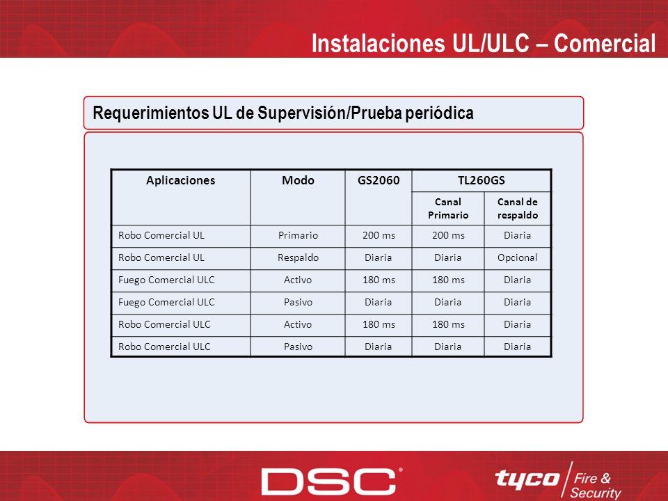 Instalaciones UL/ULC – Comercial