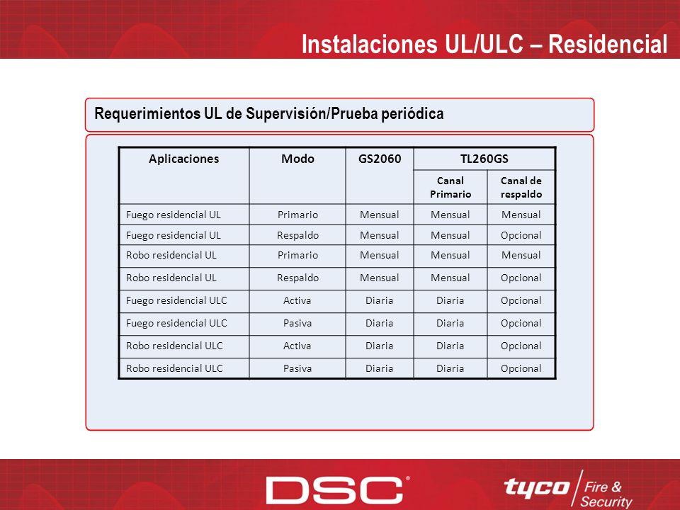 Instalaciones UL/ULC – Residencial