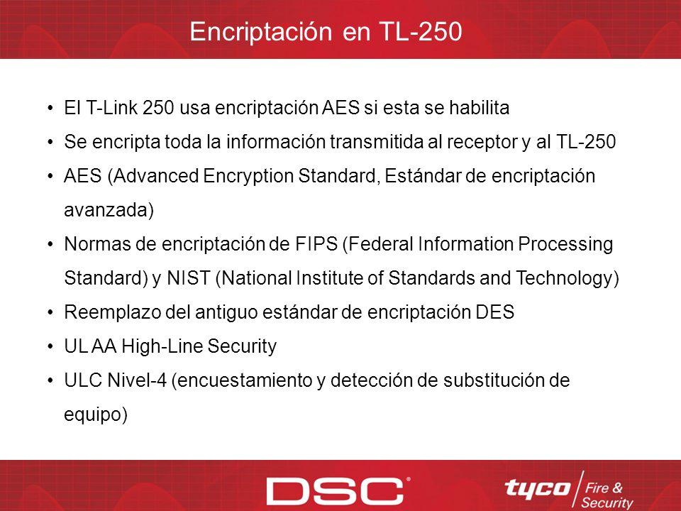 Encriptación en TL-250 El T-Link 250 usa encriptación AES si esta se habilita. Se encripta toda la información transmitida al receptor y al TL-250.