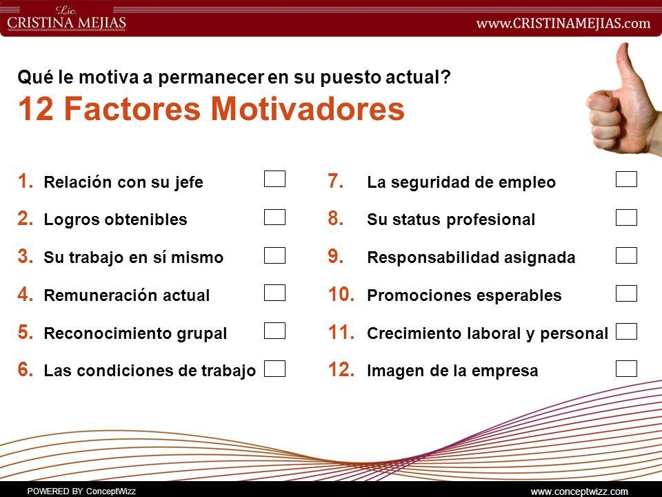 Qué le motiva a permanecer en su puesto actual 12 Factores Motivadores