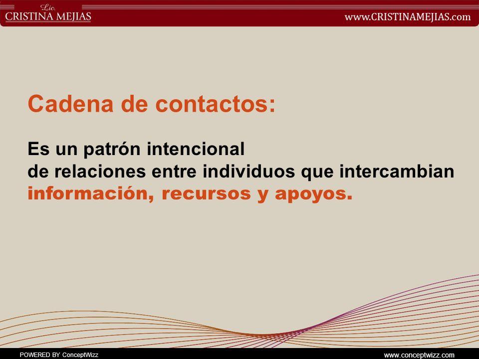 Cadena de contactos: Es un patrón intencional de relaciones entre individuos que intercambian información, recursos y apoyos.