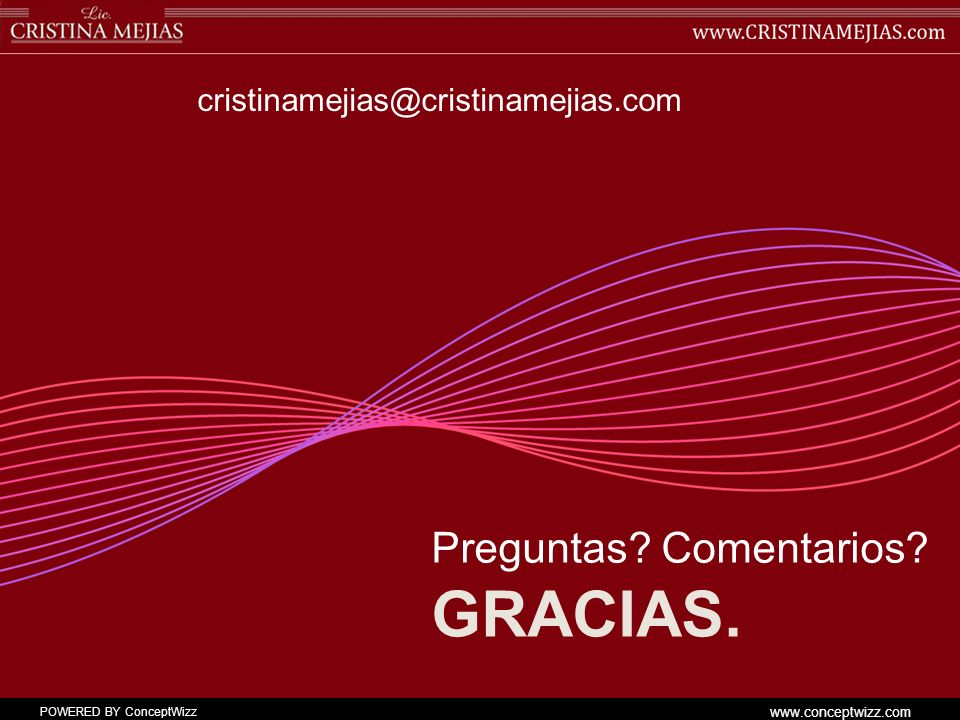 cristinamejias@cristinamejias.com Preguntas Comentarios Gracias.