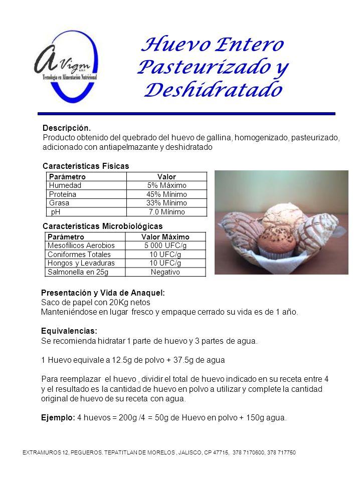 Huevo Entero Pasteurizado y Deshidratado