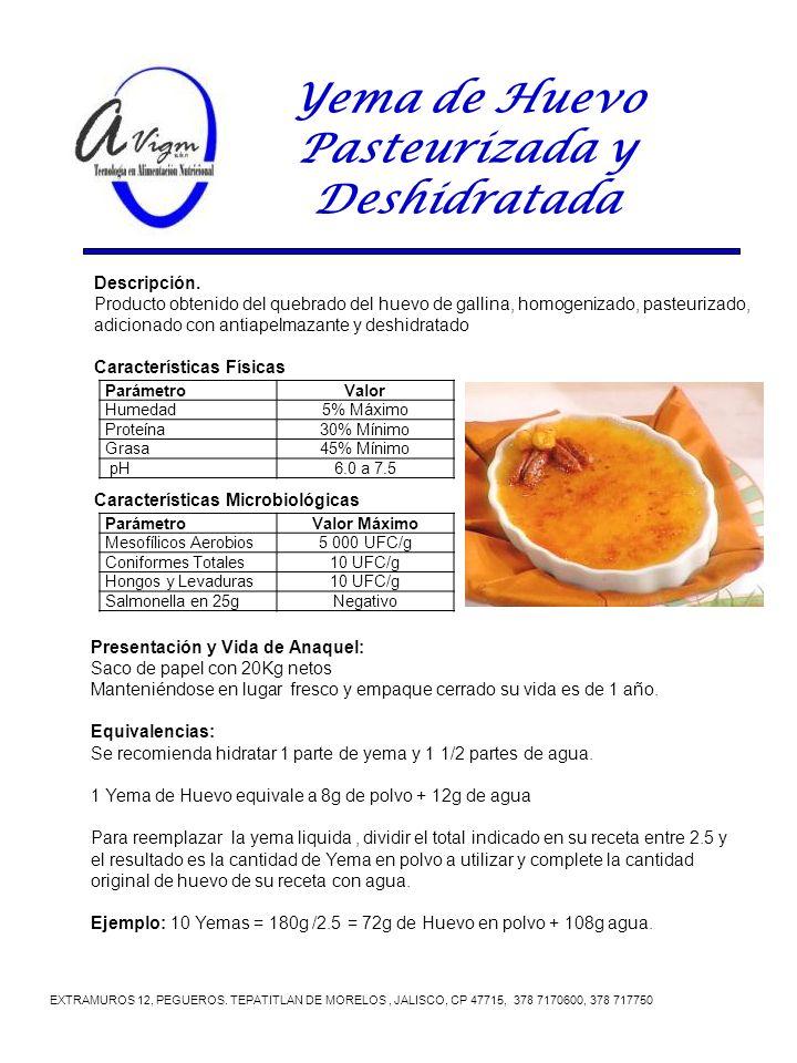 Yema de Huevo Pasteurizada y Deshidratada