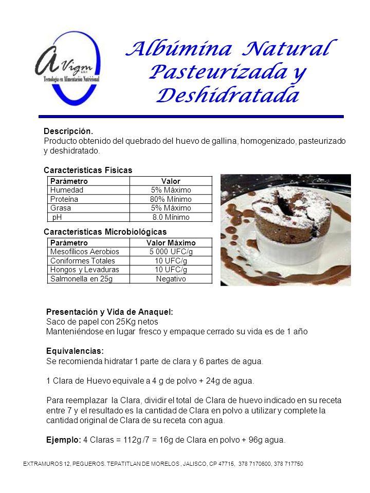Albúmina Natural Pasteurizada y Deshidratada