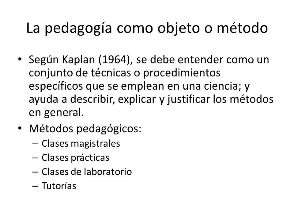 La pedagogía como objeto o método