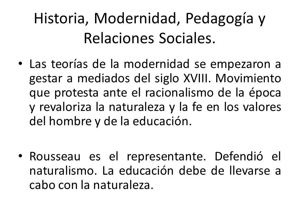 Historia, Modernidad, Pedagogía y Relaciones Sociales.