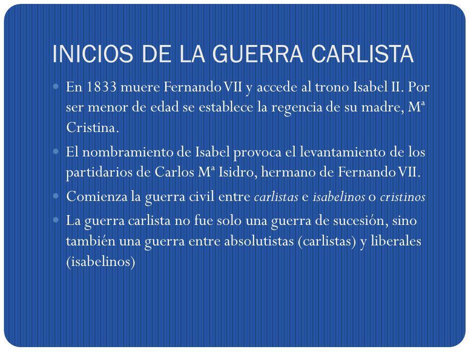 INICIOS DE LA GUERRA CARLISTA
