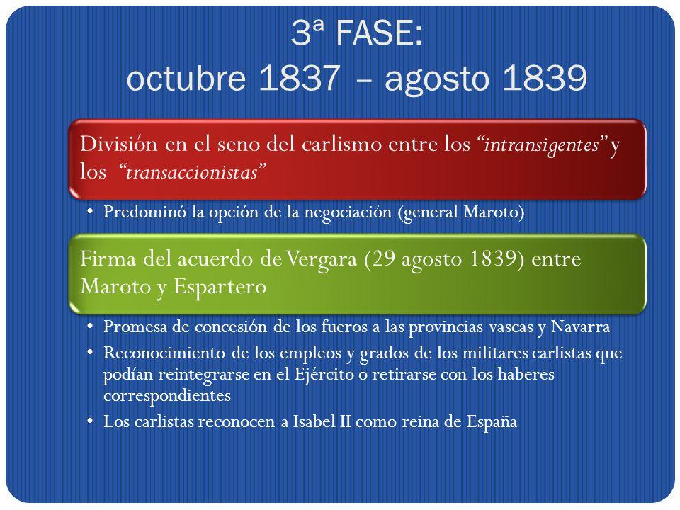 3ª FASE: octubre 1837 – agosto 1839