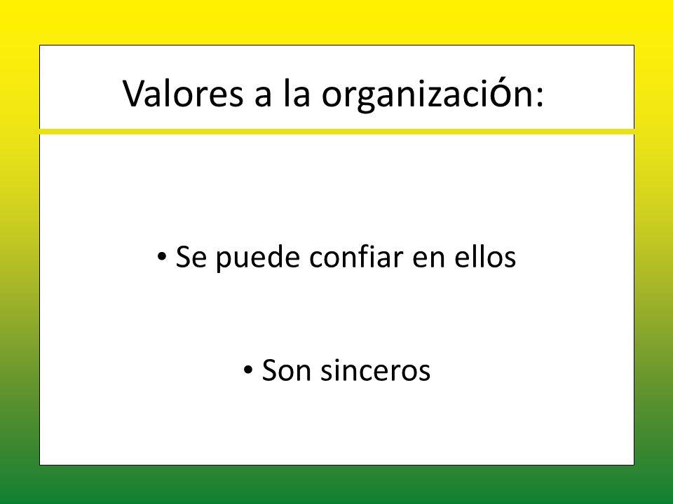 Valores a la organización: