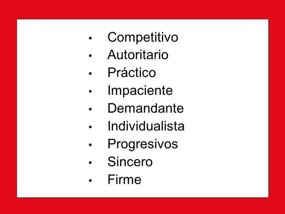 Competitivo Autoritario Práctico Impaciente Demandante Individualista Progresivos Sincero Firme