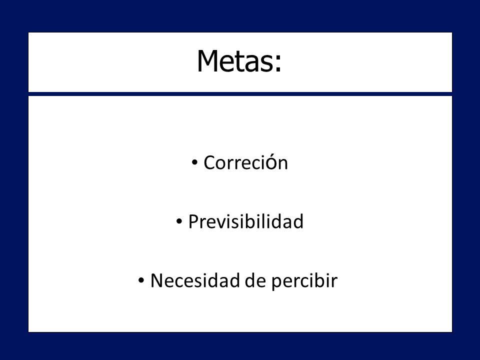 Metas: Correción Previsibilidad Necesidad de percibir