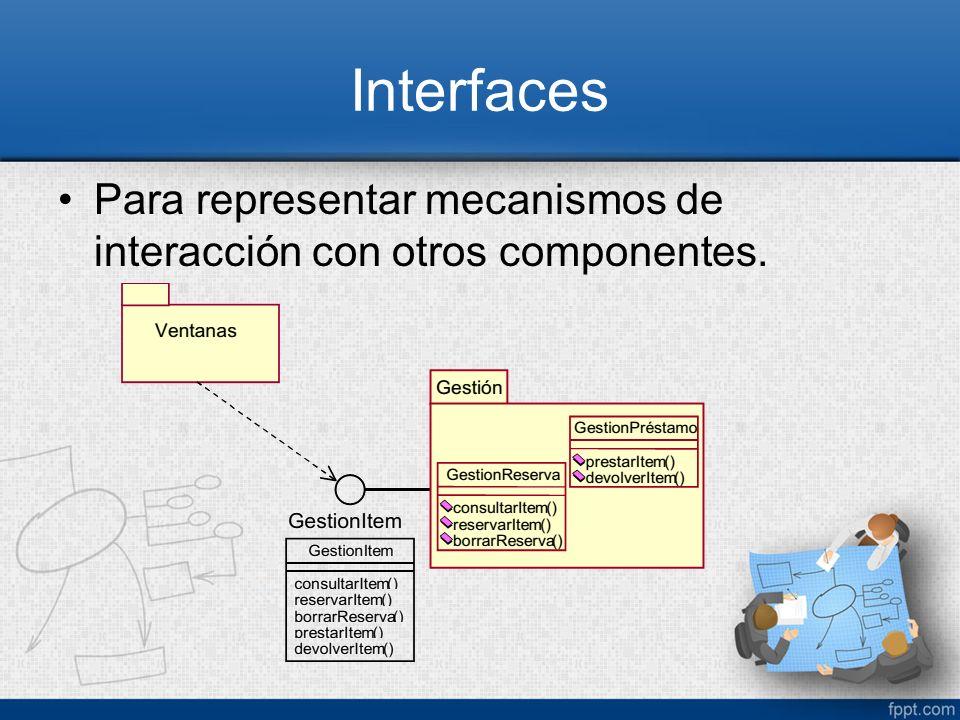 Interfaces Para representar mecanismos de interacción con otros componentes.