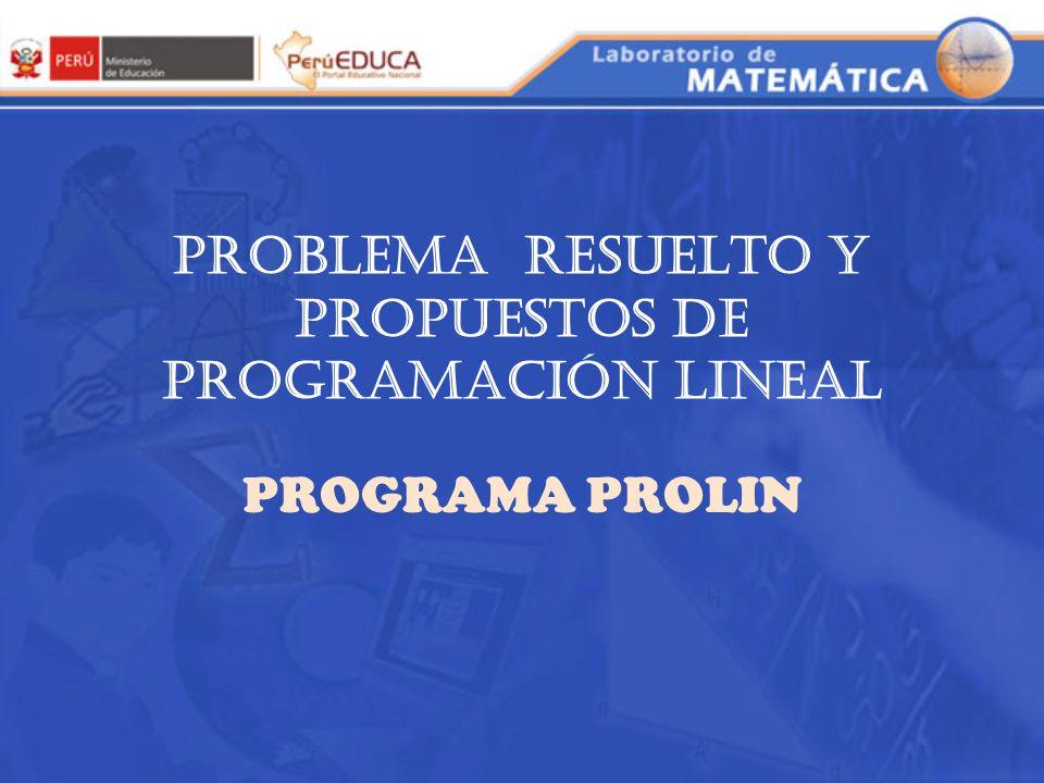 PROBLEMA RESUELTO Y PROPUESTOS DE PROGRAMACIÓN LINEAL
