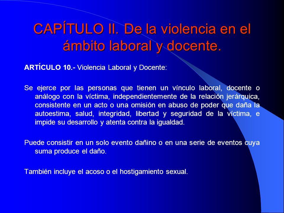 CAPÍTULO II. De la violencia en el ámbito laboral y docente.