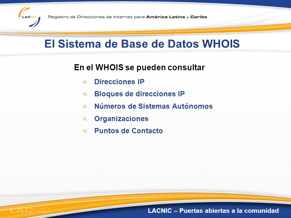 El Sistema de Base de Datos WHOIS