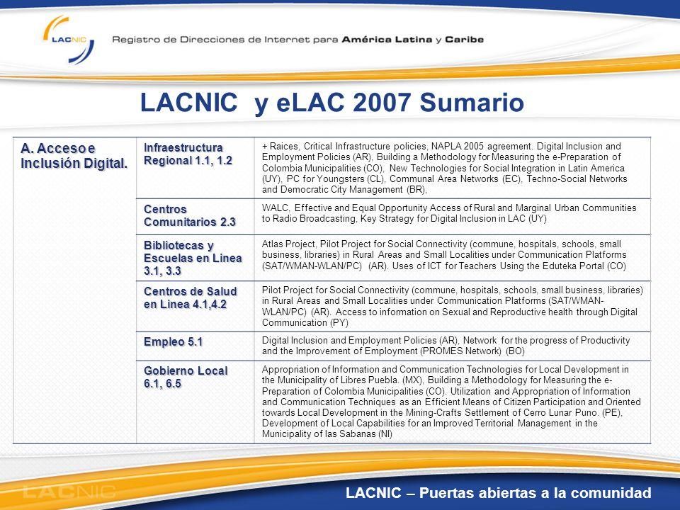 LACNIC y eLAC 2007 Sumario A. Acceso e Inclusión Digital.