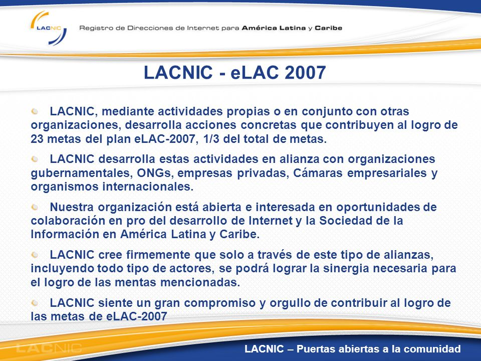 LACNIC - eLAC 2007