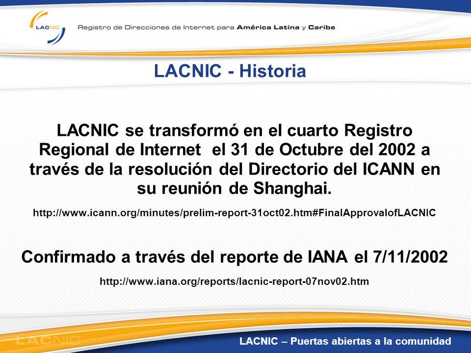 Confirmado a través del reporte de IANA el 7/11/2002