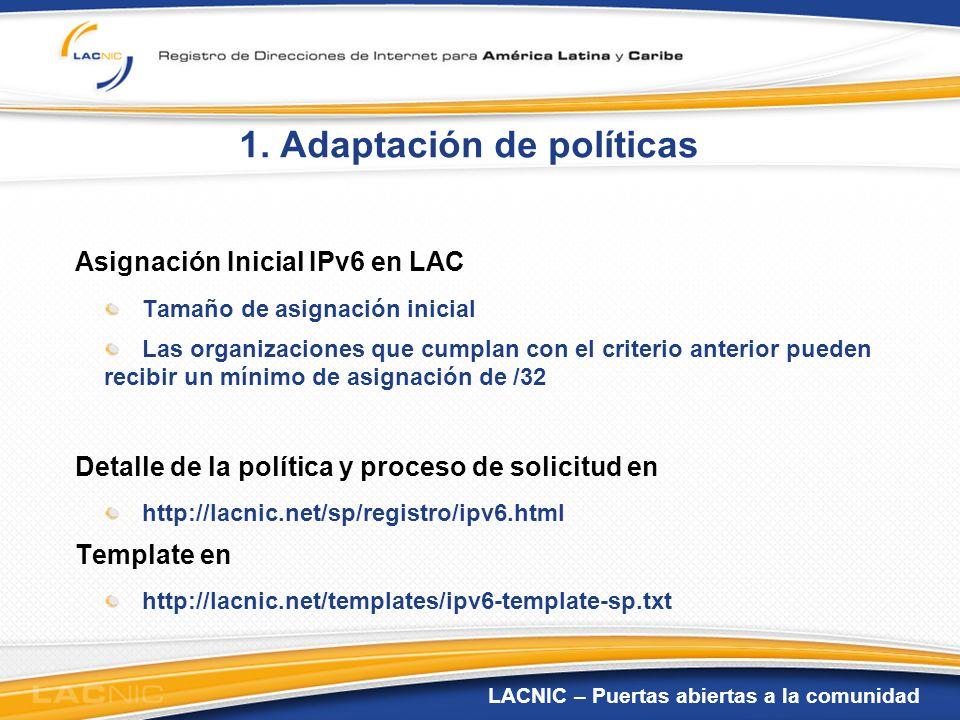 1. Adaptación de políticas