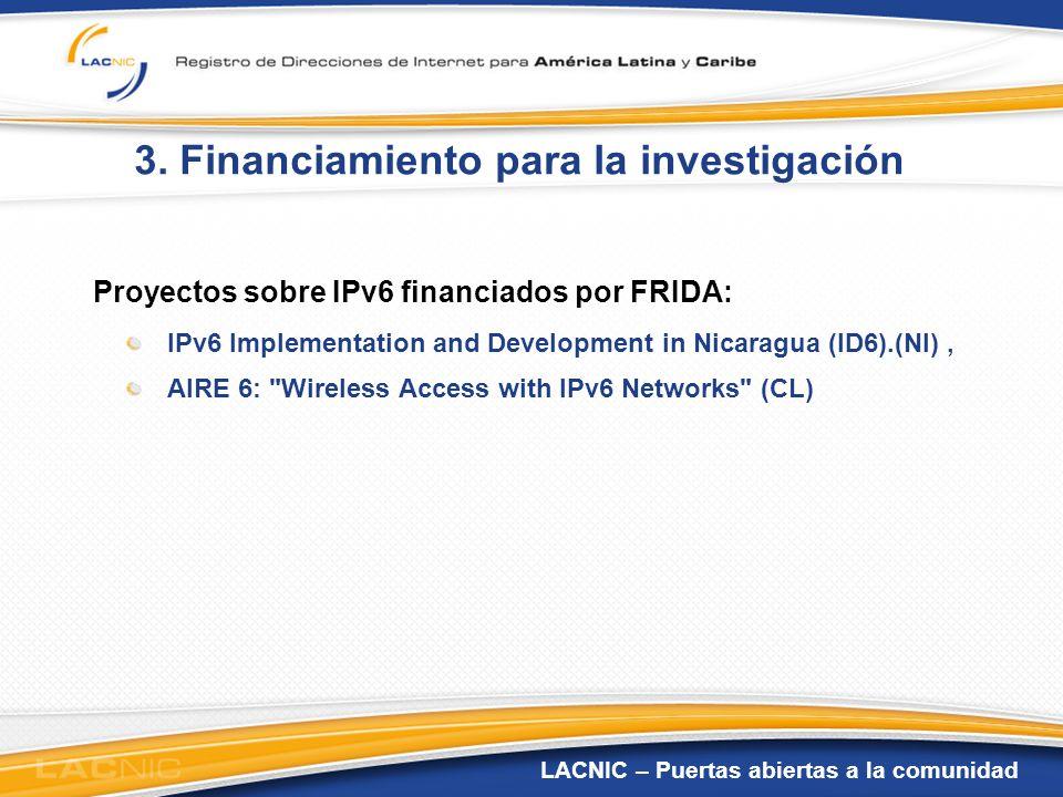 3. Financiamiento para la investigación