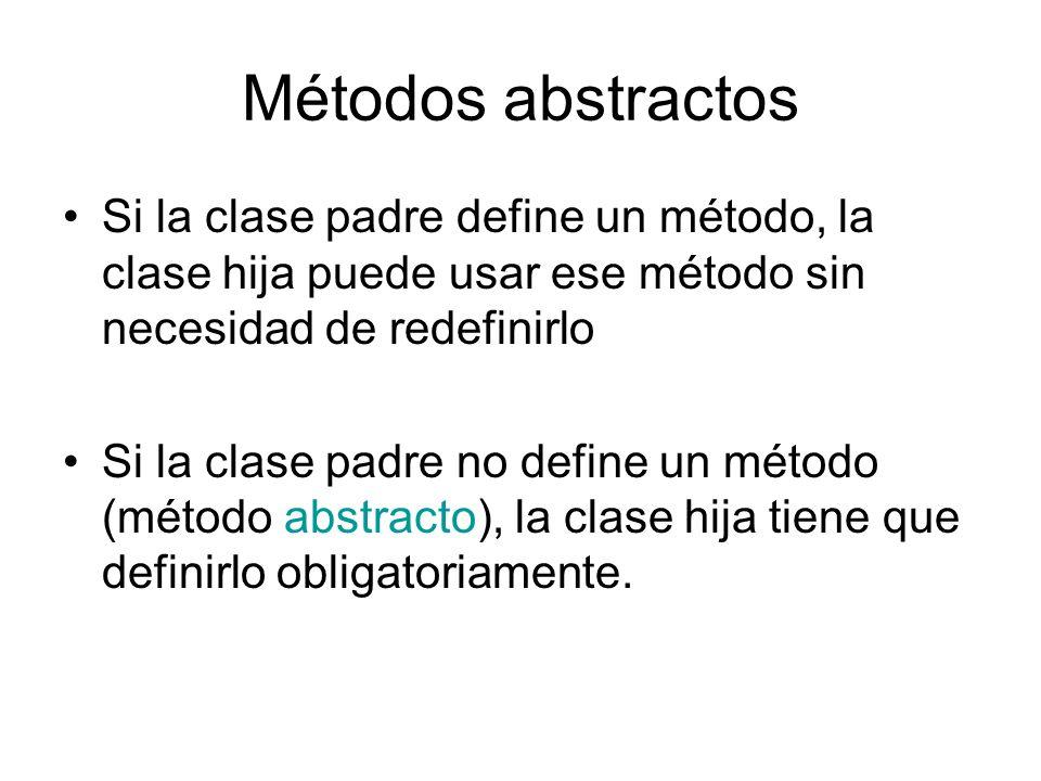 Métodos abstractos Si la clase padre define un método, la clase hija puede usar ese método sin necesidad de redefinirlo.