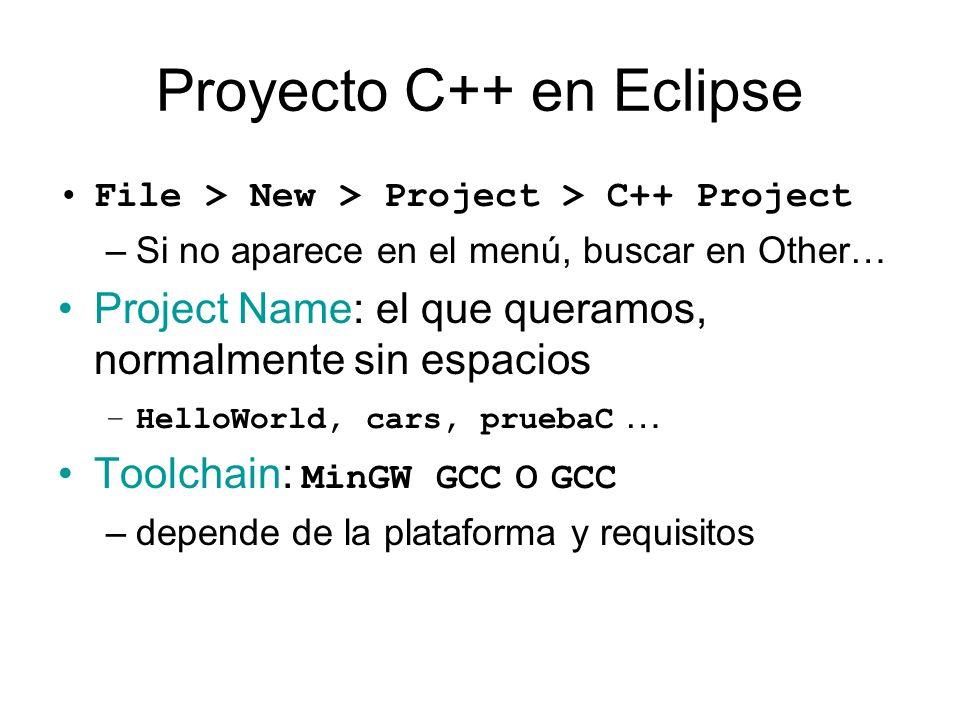 Proyecto C++ en Eclipse