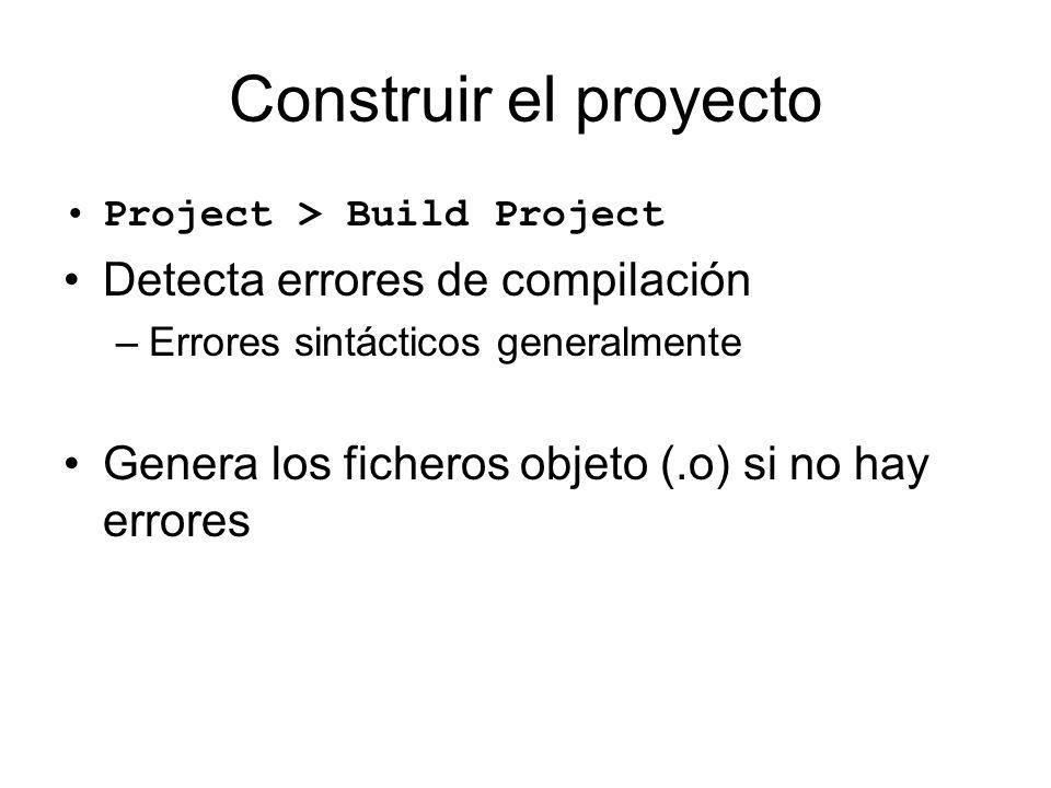 Construir el proyecto Detecta errores de compilación
