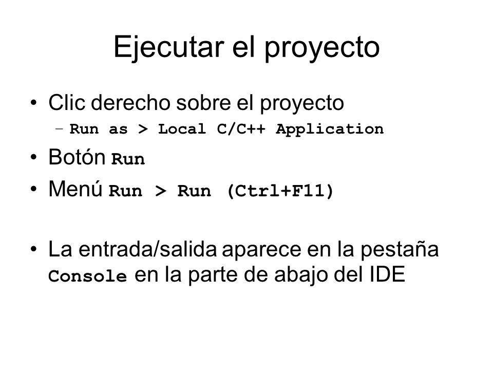Ejecutar el proyecto Clic derecho sobre el proyecto Botón Run