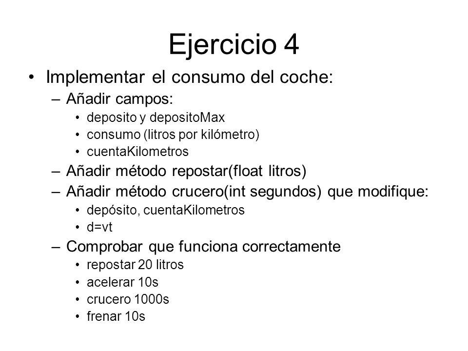 Ejercicio 4 Implementar el consumo del coche: Añadir campos: