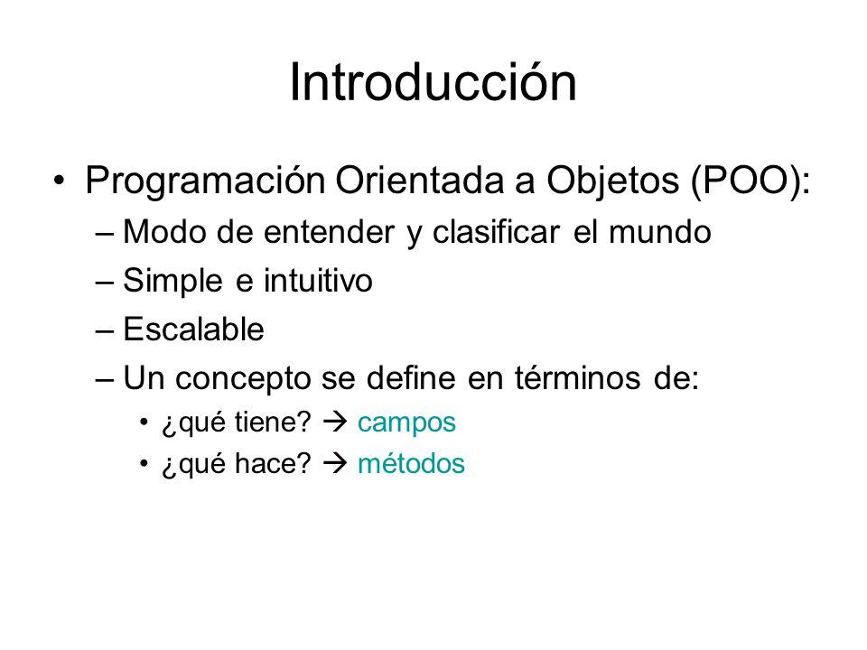 Introducción Programación Orientada a Objetos (POO):
