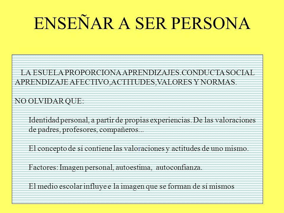 ENSEÑAR A SER PERSONA LA ESUELA PROPORCIONA APRENDIZAJES.CONDUCTA SOCIAL. APRENDIZAJE AFECTIVO,ACTITUDES,VALORES Y NORMAS.