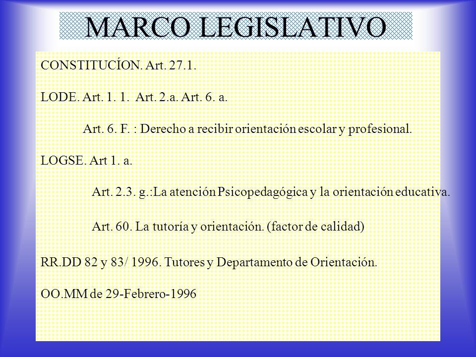 Art. 2.3. g.:La atención Psicopedagógica y la orientación educativa.