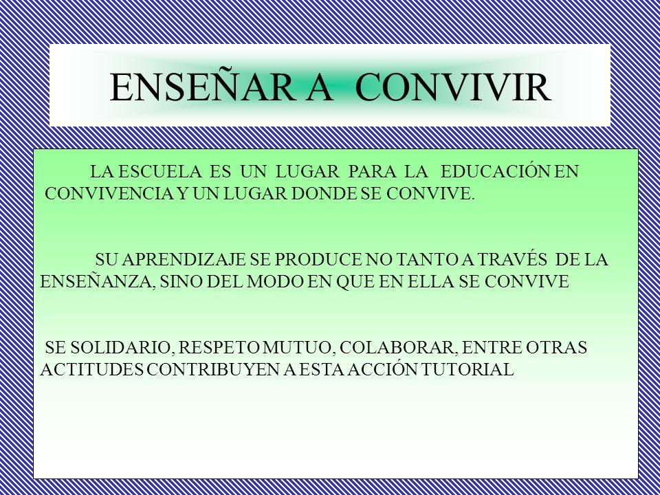 ENSEÑAR A CONVIVIR LA ESCUELA ES UN LUGAR PARA LA EDUCACIÓN EN