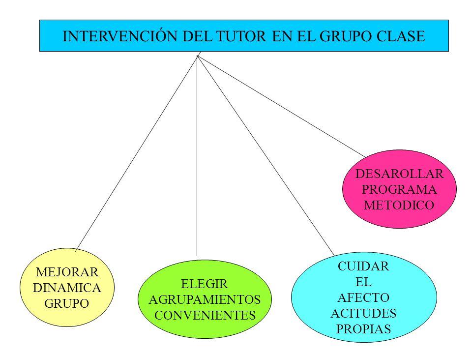 INTERVENCIÓN DEL TUTOR EN EL GRUPO CLASE