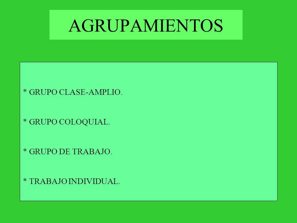AGRUPAMIENTOS * GRUPO CLASE-AMPLIO. * GRUPO COLOQUIAL.