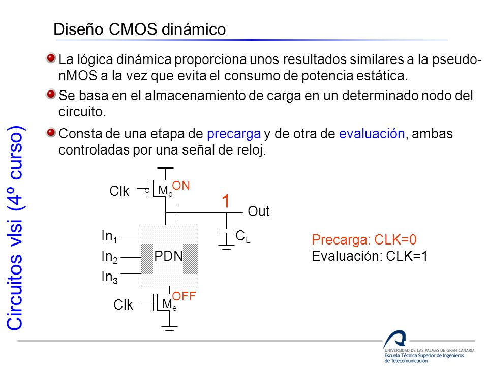 Diseño CMOS dinámico La lógica dinámica proporciona unos resultados similares a la pseudo- nMOS a la vez que evita el consumo de potencia estática.