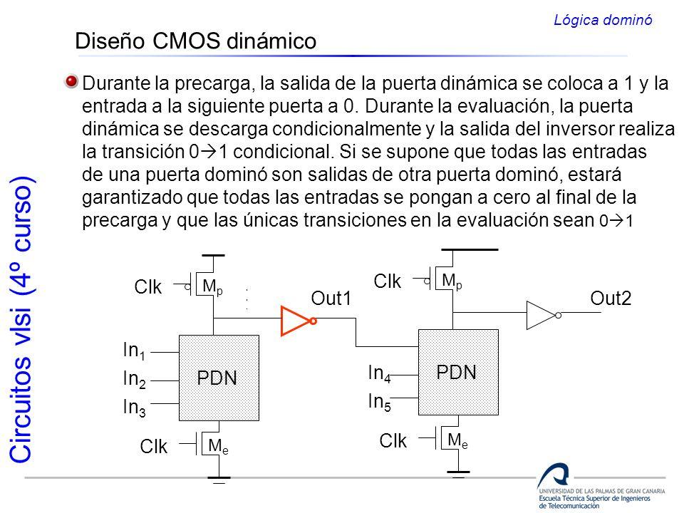 Lógica dominó Diseño CMOS dinámico. Durante la precarga, la salida de la puerta dinámica se coloca a 1 y la.